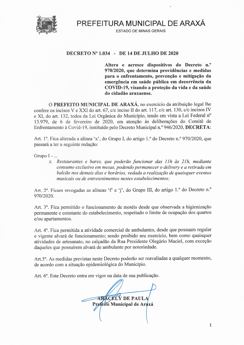 Consumo de bebidas alcoólicas em bares e restaurantes volta a ser permitido em Araxá, além de motéis e comércio ambulante 1