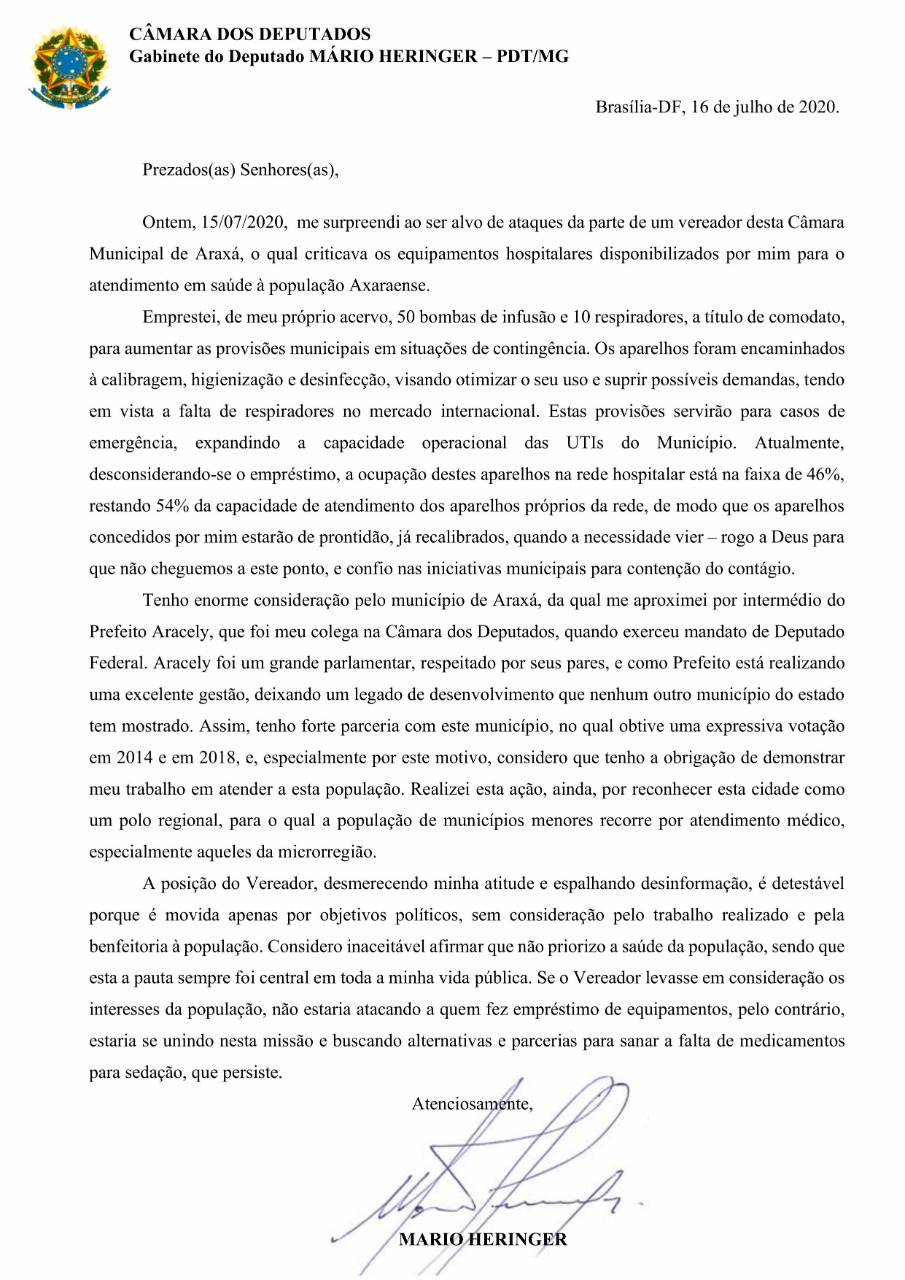 Deputado Mário Heringer e Prefeitura de Araxá encaminham notas sobre a situação de respiradores cedidos em comodato 1
