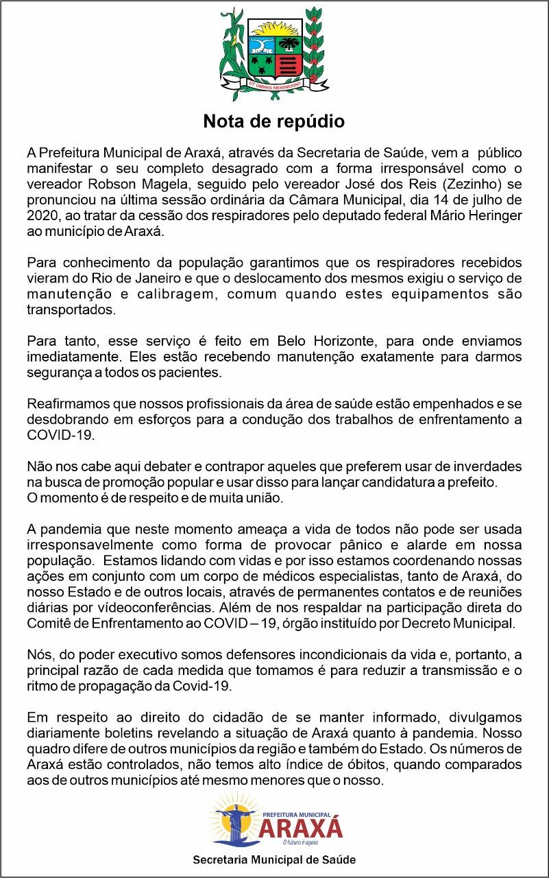 Deputado Mário Heringer e Prefeitura de Araxá encaminham notas sobre a situação de respiradores cedidos em comodato 2