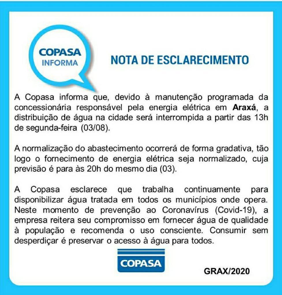 Copasa interrompe distribuição de água em Araxá nesta tarde para manutenção programada de rede elétrica 1