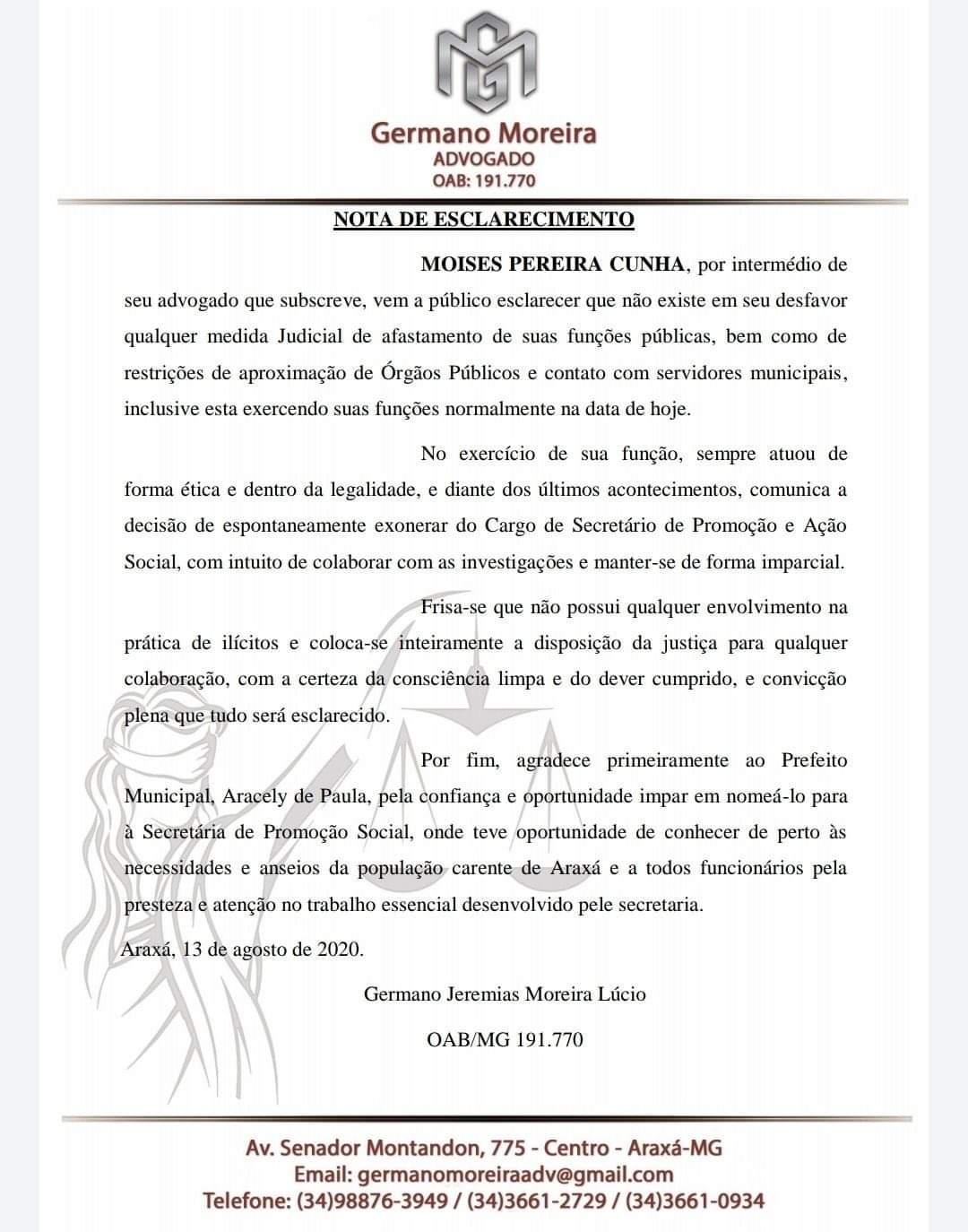 Moisés Cunha pede exoneração do cargo de secretário de Ação e Promoção Social 1