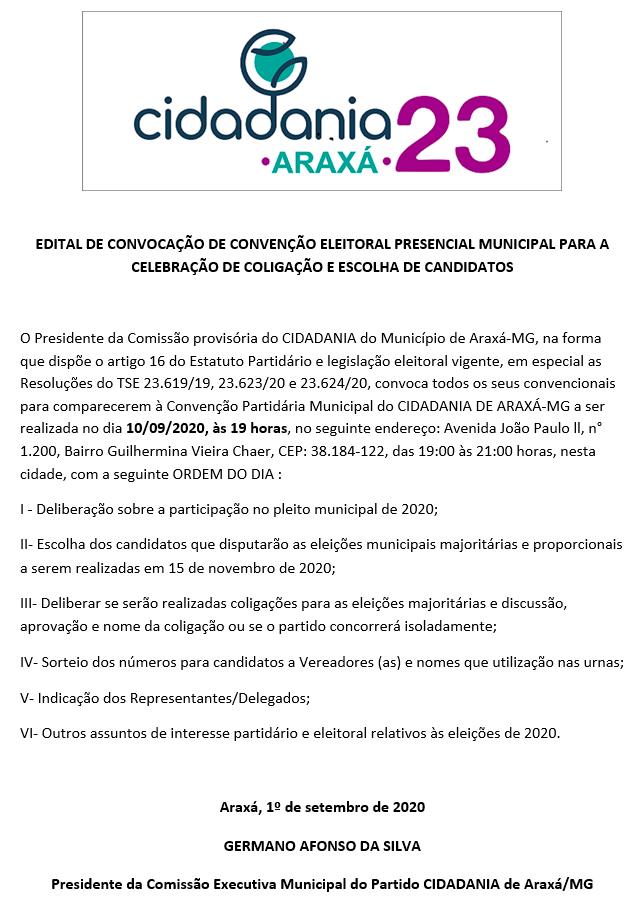 CIDADANIA: Edital de Convocação de Convenção Eleitoral Presencial Municipal para a Celebração de Coligação e Escolha de Candidatos 1