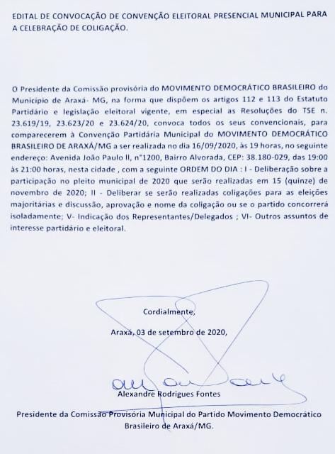 MDB: Edital de Convocação de Convenção Eleitoral Presencial Municipal para a Celebração de Coligação e Escolha de Candidatos 1