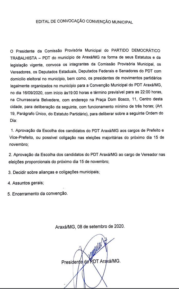 PDT: Edital de Convocação Convenção Municipal 1