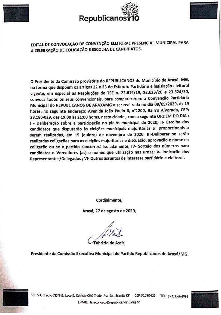 REPUBLICANOS: Edital de Convocação de Convenção Eleitoral Presencial Municipal para a Celebração de Coligação e Escolha de Candidatos 1