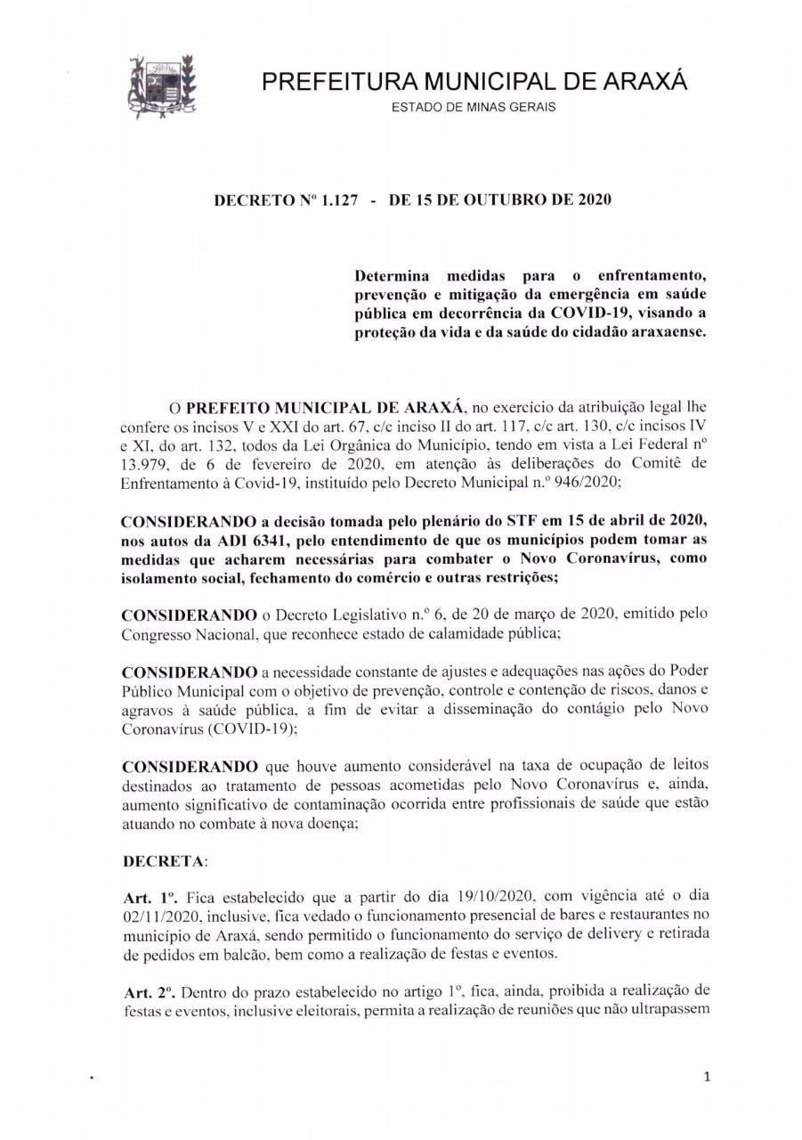 Decreto proíbe atendimento presencial em bares e restaurantes de Araxá entre 19 de outubro e 2 de novembro 1