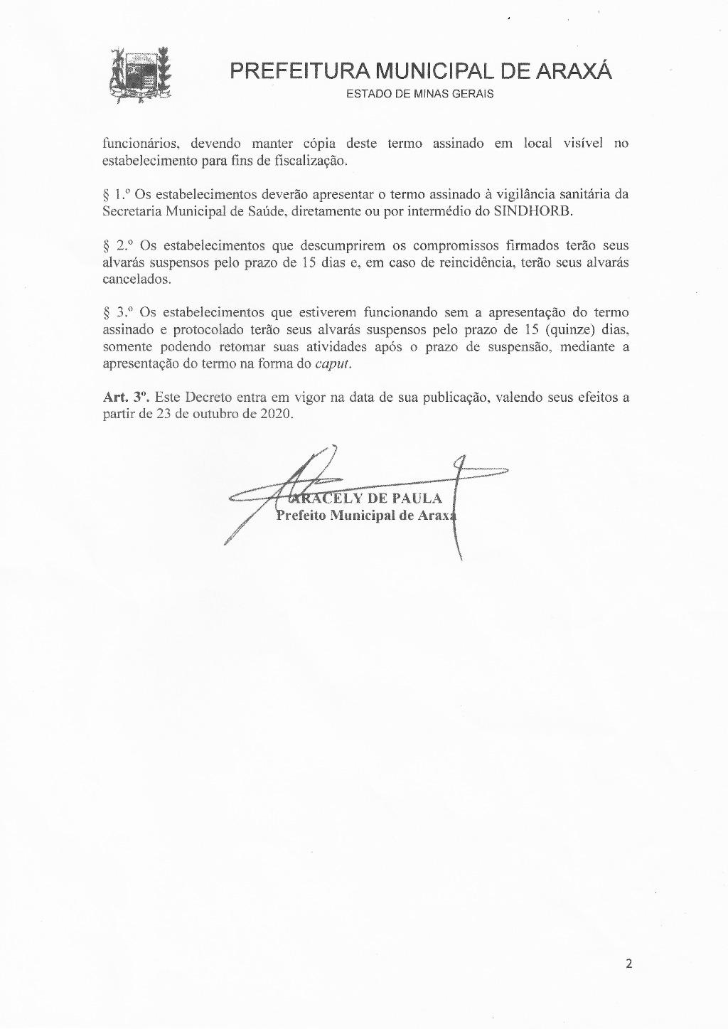 Bares e restaurantes de Araxá estão liberados para atendimento presencial mediante termo de compromisso 2