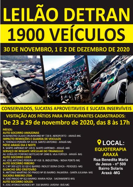 Detran-MG prorroga cadastramento para leilões de veículos em Araxá; confira todas as informações 1