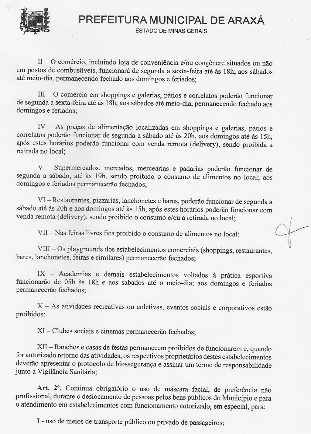Comitê de Enfrentamento ao Covid-19 de Araxá define novas restrições 2