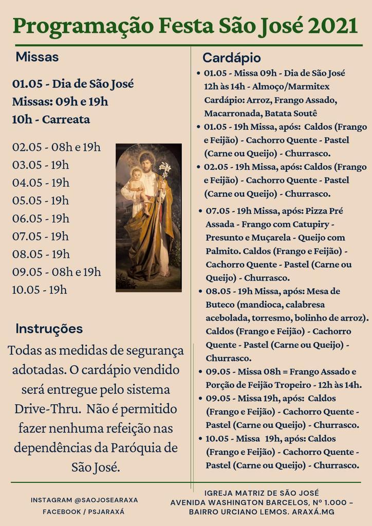Quermesse em drive-thru, novena com vários padres na programação da Festa de São José 2021 1