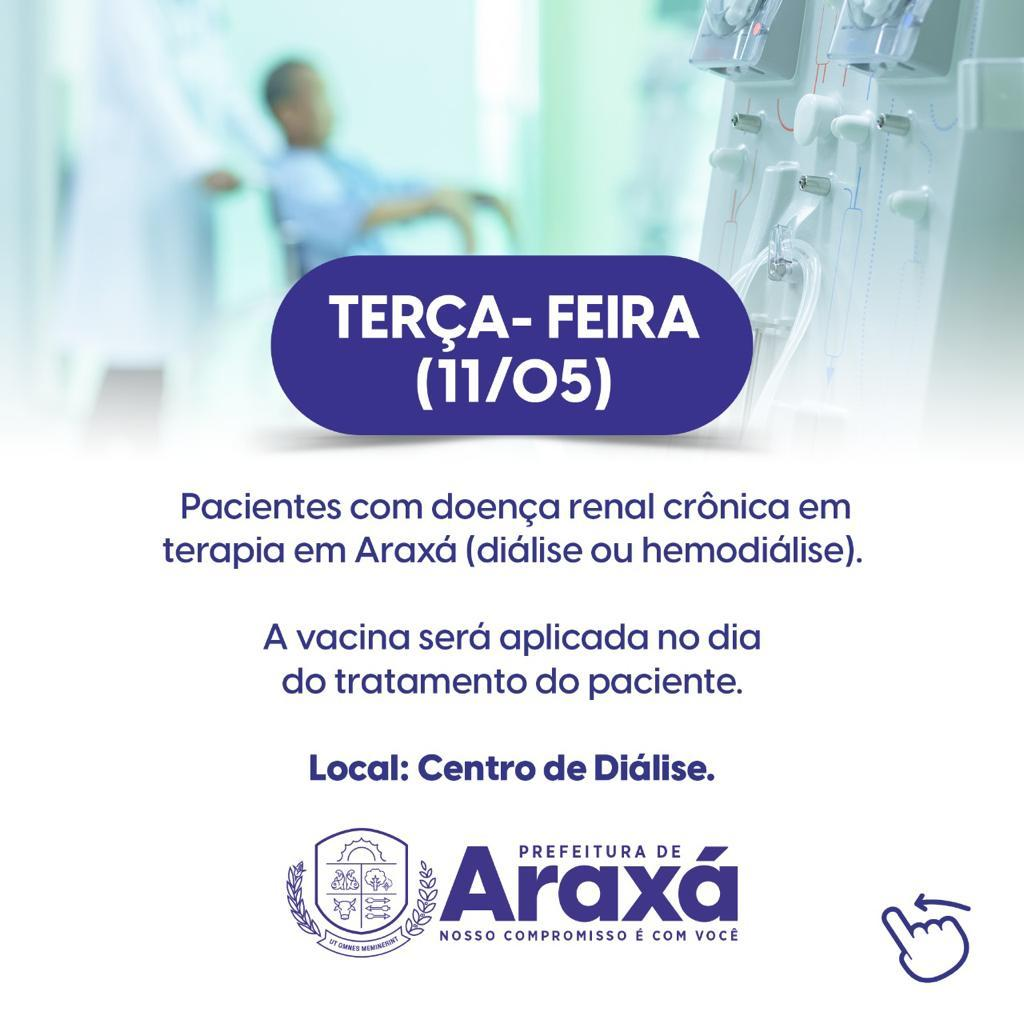 Prefeitura de Araxá divulga calendário de vacinação de pessoas com comorbidades 1
