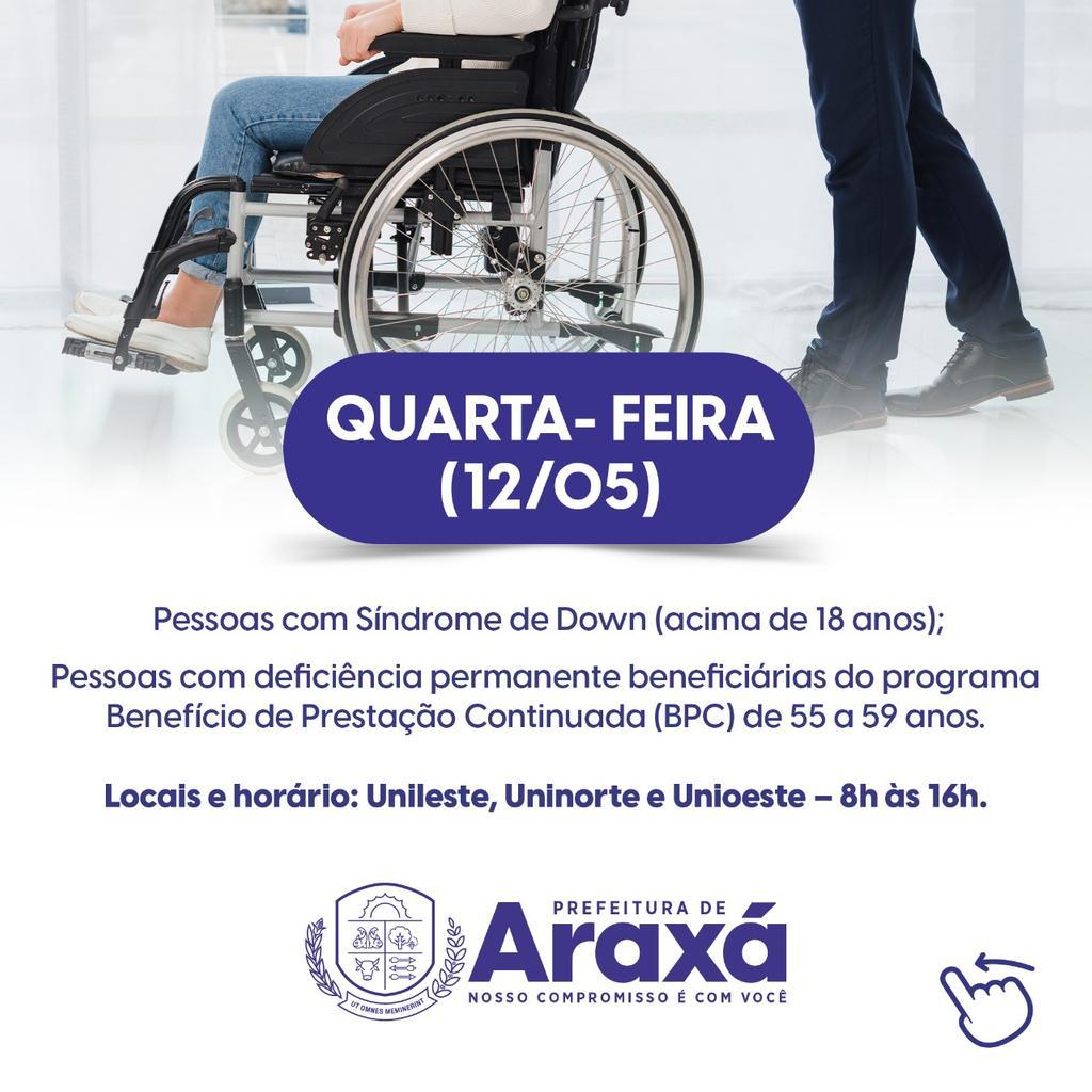 Prefeitura de Araxá divulga calendário de vacinação de pessoas com comorbidades 2