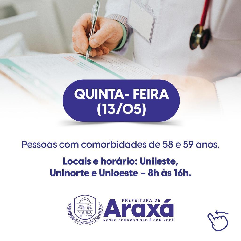 Prefeitura de Araxá divulga calendário de vacinação de pessoas com comorbidades 3