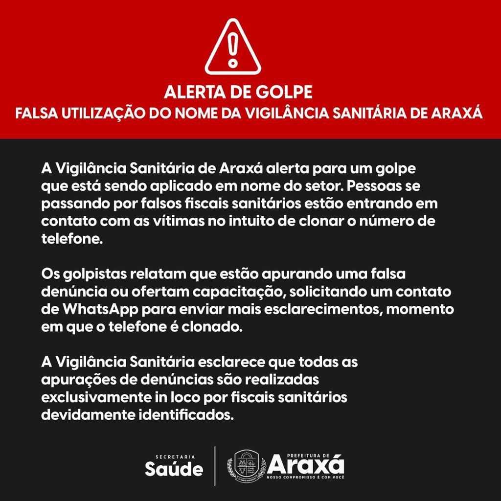 Alerta de Golpe: Falsa utilização do nome da Vigilância Sanitária de Araxá 1