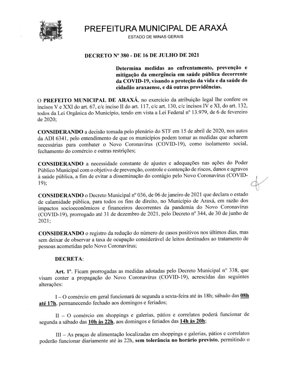 Novo decreto flexibiliza horário de funcionamento do comércio 1